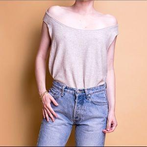 Eileen Fisher tan organic cotton knit tank top